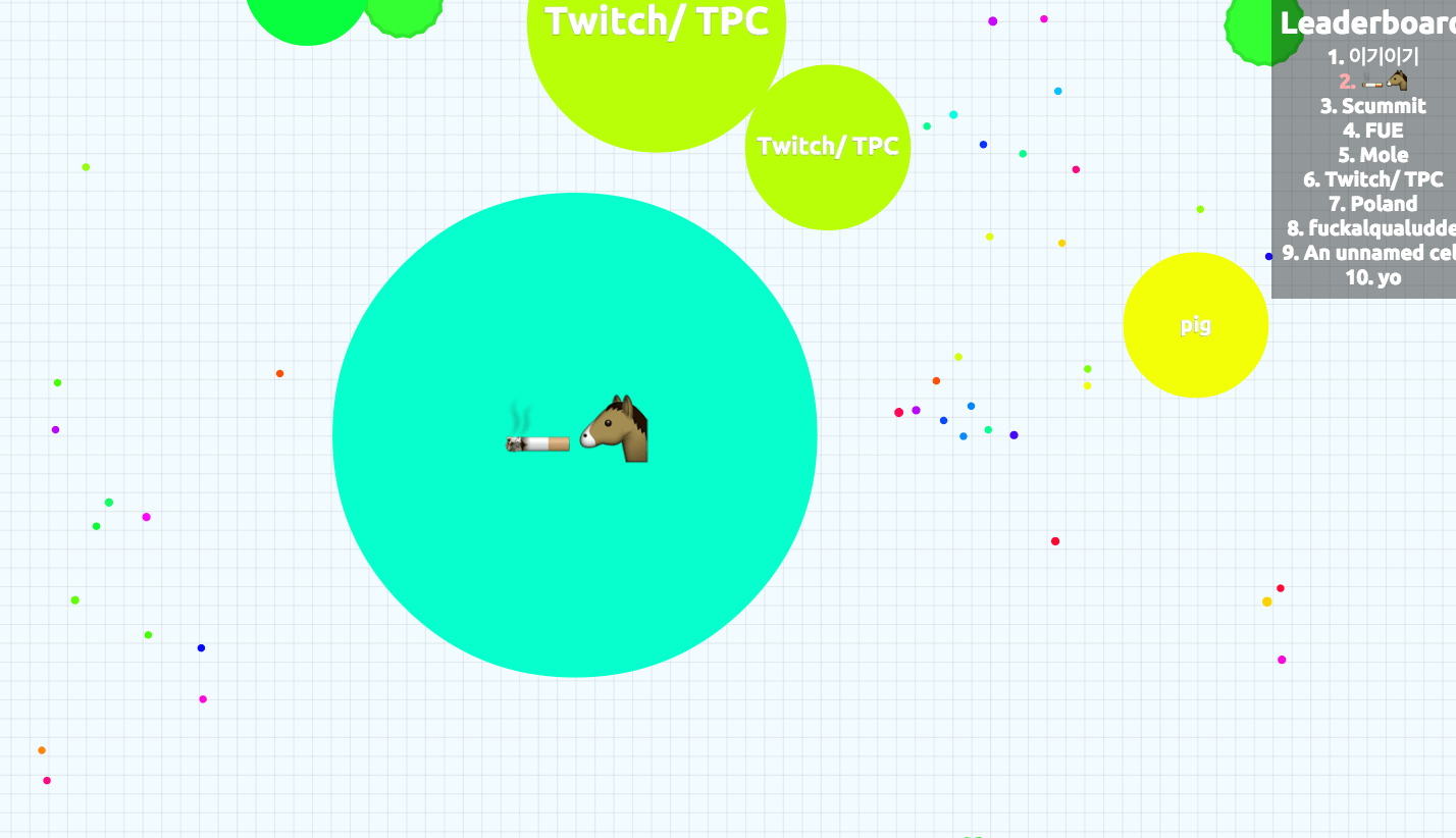 Horse smoking a cigarette on the free browser game, Agario or Agar.io