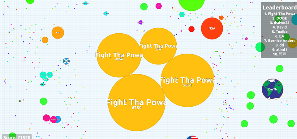 Screenshot of the game Agar.io with the username Row Row Fight Da Powa