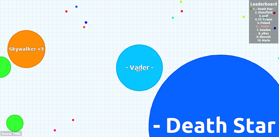 Screenshot of the Agar.io game with a Death Star and Darth Vader